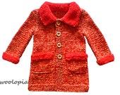 Handknit Baby Coat, Fall & Winter coat for girls. Knitted Coat, Baby Coat, sweater, baby sweater