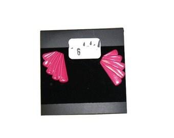 Vintage Hot Pink Earrings, Pink Stud Earrings, Geo Earrings, Statement Earrings, Pink Earrings