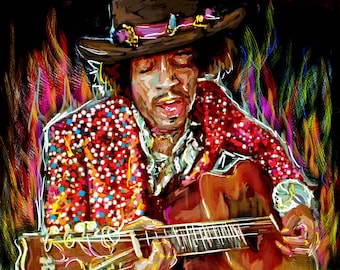 Jimi Hendrix Art, Hendrix Original Painting Art Print, Jimi Art