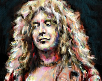 Robert Plant Art, Led Zeppelin Painting , Zeppelin Original Art Print