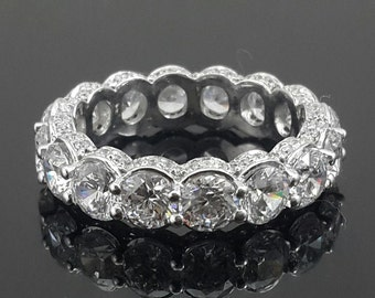 925 sterling silver vintage style 2ct eternity CZ ring stone beautiful eternity band