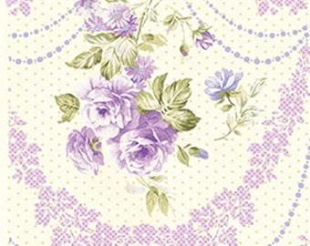"19"" REMNANT Zoey - Rose Cameo in Wisteria Purple - Floral Cotton Quilt Fabric - Eleanor Burns - Benartex Fabrics - 712-60 (W3502) Christine"