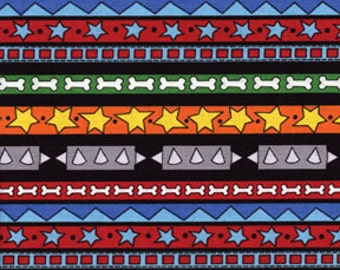 Fat Quarter In The Dog House - Fido Stripe in Multi - Cotton Quilt Fabric - by Kanvas - Benartex Fabrics (W184)