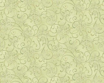 One Yard He Still Loves Me - Mini Scroll in Green - Cotton Quilt Fabric - by Jackie Robinson for Benartex Fabrics 3276-44 (W2909)