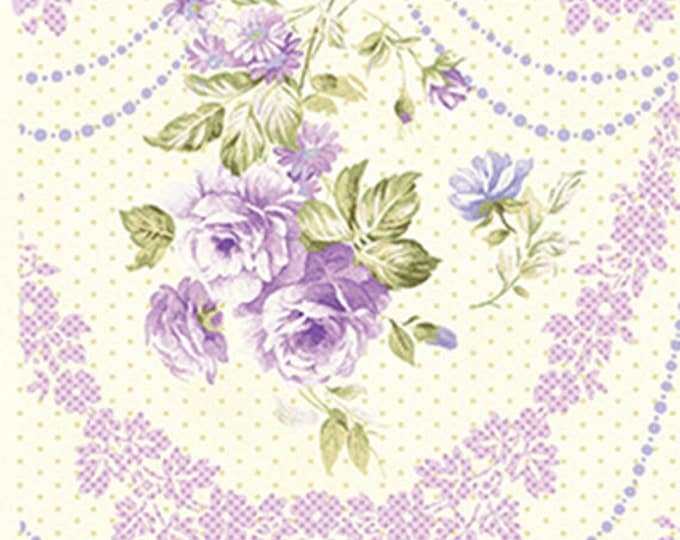 "19"" REMNANT Zoey - Rose Cameo in Wisteria Purple - Floral Cotton Quilt Fabric - Eleanor Burns - Benartex Fabrics - 712-60 (W3502) Christine"