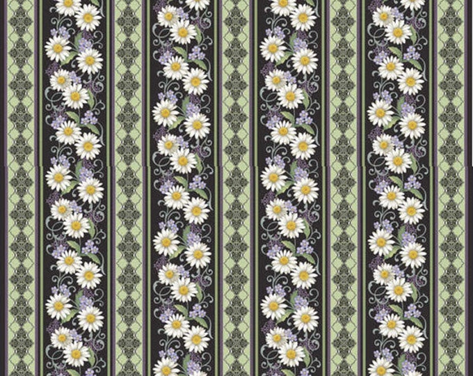 One Yard He Still Loves Me - Daisy Stripe in Black - Cotton Quilt Fabric - by Jackie Robinson for Benartex Fabrics 3272-12 (W2895)
