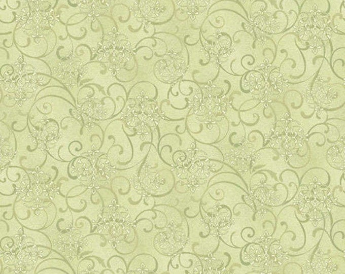 Half Yard He Still Loves Me - Mini Scroll in Green - Cotton Quilt Fabric - by Jackie Robinson for Benartex Fabrics 3276-44 (W2909)