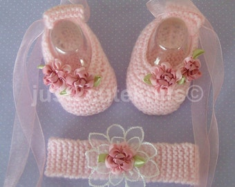 Hand knitted Baby Girl Ballet Booties and matching headband