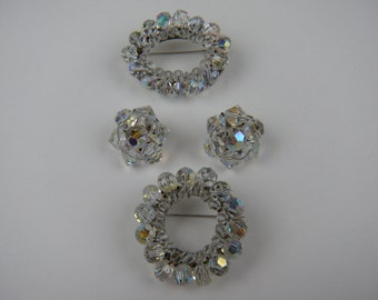 Sale Gorgeous Crystal Brooches with Marching Earrings