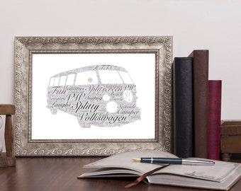Personalised VW Volkswagen Splitscreen Word Art Print Wordart UK