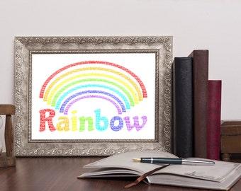Personalised Rainbow Word Art Print Wordart UK Picture