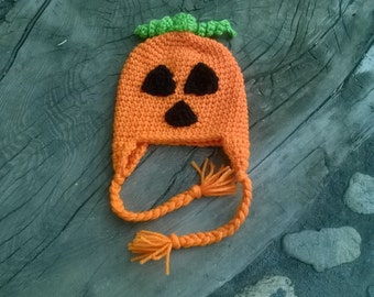 jack-o-lantern crochet beanie infants size 3-6 months. Hand or machine wash cold water. Dry flat or air setting in dryer.