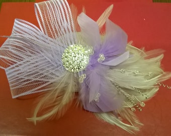 Lilac and silver fascinator