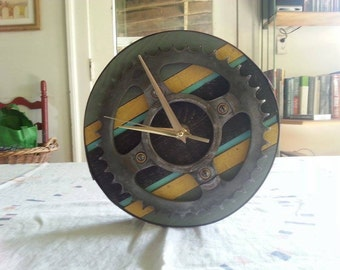 Gear sprocket barnwood clock