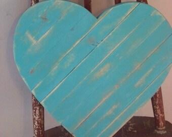 Teal barn wood heart