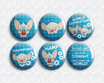 Pinky and the Brain 6 Pack - Pinback Badge / Magnets / Sticky