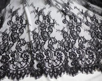 "59"" wide Chantilly Fabric, Black Floral Lace Fabric, Wedding Lace, Bridal Dress Fabric Trim"