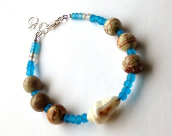 Beach Bracelet with Picture Jasper and a Sea Shell, Unique Blue Boho Bracelet, Gift for Her for Earth Day or Birthday Gift