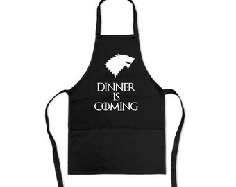 Dinner is Coming - Childs Apron not Adults...Game of Thrones inspired Children's apron size 45cm x 65cm with 3 pockets - Winter is Coming ki