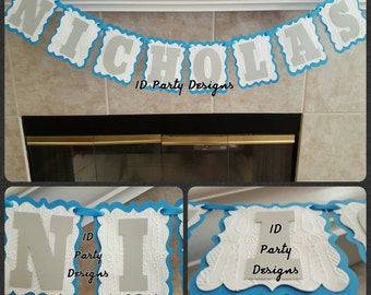 Embossed BOW tie or MUSTACHE banner, any phrase available.Any color combo. Happy Birthday, Baby Shower, Name Banner Mustache Bash