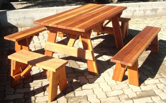 6ft Heavy Duty Redwood Picnic Table with Benches by RedwoodGardens