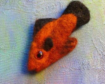 Needle felted fish brooch