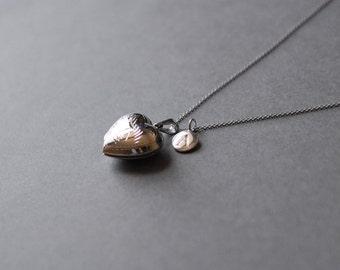 Silver Heart Necklace Dainty Open Heart Locket Necklace