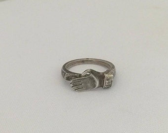 Vintage Sterling Silver Hand Ring Size 7.75