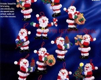 Bucilla Little Santas 12 Pce Felt Christmas Ornament Kit #83667 Santa Toys Tree DIY