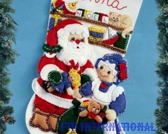 "Bucilla Mr. & Mrs. Claus ~ 18"" Felt Christmas Stocking Kit #83199, Santa, Train DIY"