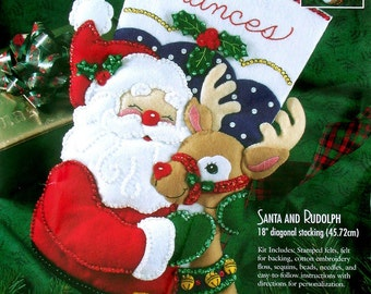 "Bucilla Santa & Rudolph ~ 18"" Felt Christmas Stocking Kit #83388, Reindeer DIY"