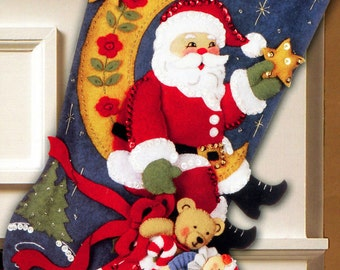 "Bucilla Moonlight Santa ~ 18"" Felt Christmas Stocking Kit #86018 Celestial, Moon DIY"