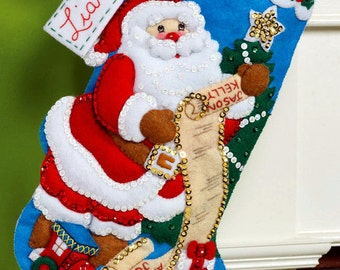 "Bucilla Santa's List & Toy Bag ~ 16"" Felt Christmas Stocking Kit #86481 New 2014 DIY"