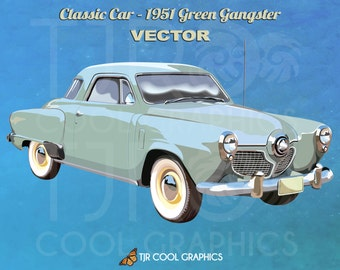 Classic Car 1951 Green Gangster Vector, Digital Realistic Clip Art, Commercial, EPS, Printable, Vehicle, Engine