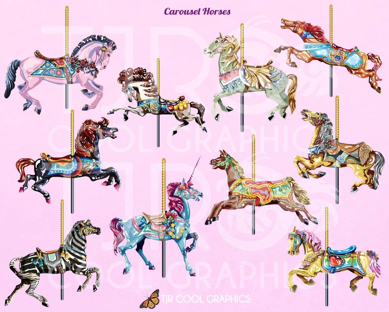 Carousel Horses Digital Realistic Clip Art PNG Printable