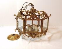 Vintage Antique Hollywood Regency Spanish Brass Gold Chandelier Glass Etched Pane Starburst Snowflake Flower Candle Hanging Light Lamp Metal