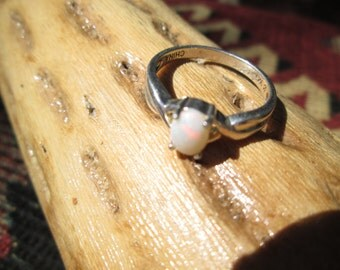 Opal and Sterling Silver Ring Size 8.25