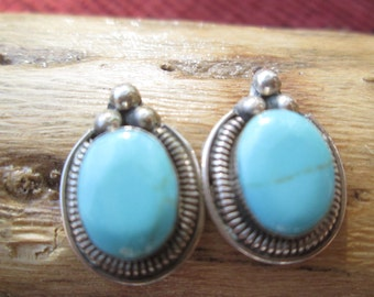 Turquoise and Sterling Post Earrings