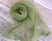 Light Green Mohair Newborn Swaddle Wrap, Apple Green Knit Newborn Wrap, Newborn Mohair Wrap, Newborn Wrap Prop, Newborn Photo Props