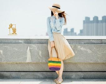 colorful handle bag