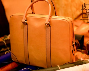 Tanned leather briefcase