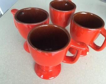 Vintage Flame Red Frankoma pedestal mugs C13