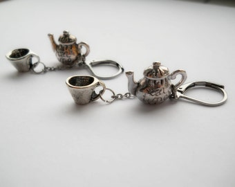 Teapot earrings, surgical steel earrings, teapot jewelry, dangle earrings, cute teapot, tiny teapot, tea lover gift, tea time, mini teapot