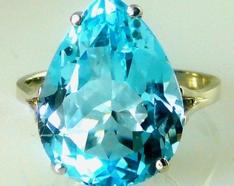 Large Blue Topaz Pear Shape Solitaire Ring 925 Sterling Silver 20X15MM