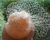 Ivory Cocktail hat Ivory Fascinator Ivory Rose Wedding Hat for Races Ascot hat Kentucky Derby Hat