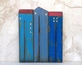 """Set of 3 recycled wood """"old look"""" houses , painted with acrylic colors, varnished with clear waterbased varnish - HOME DECOR"""