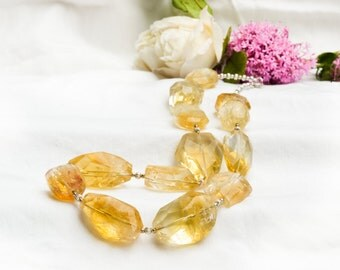 Natural faceted citrine necklace with 925 sterling silver *Free worldwide shipping*