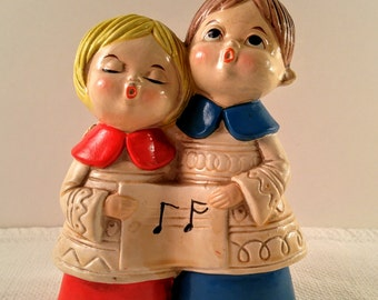 Vintage Chalkware Boy & Girl Choir Caroler Figurine. Christmas, Holiday, Decor. Gifts. Stocking Stuffer. Mid Century Kitsch. Made in Japan