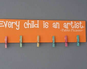 DIY Every Child Is an Artist Sign Kit Artwork Display Pablo Picasso Childs Artwork Do it Yourself