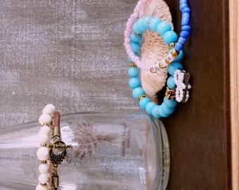 Gypsy stackable colorful leather bracelet Multi-strands stretchable bracelet